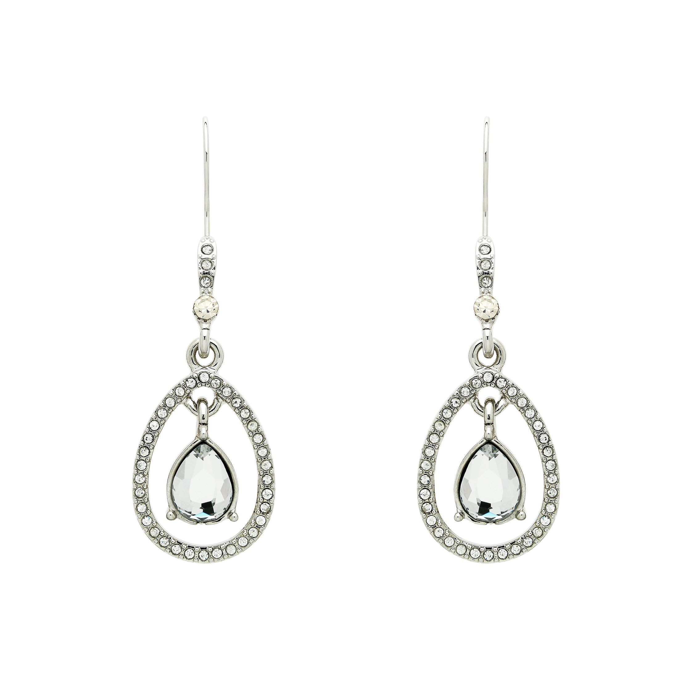 Monet Crystal Teardrop Open Earrings, N/A.