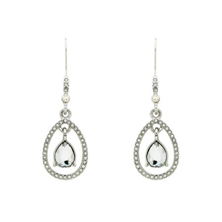 Monet Crystal Teardrop Open Earrings