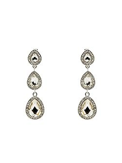 Silver Accented Teardrop Clip Earrings