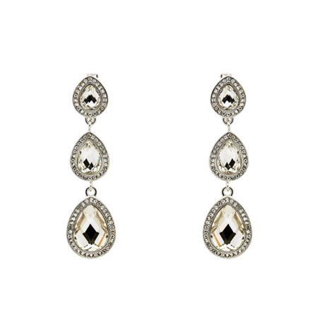Monet Silver Accented Teardrop Clip Earrings
