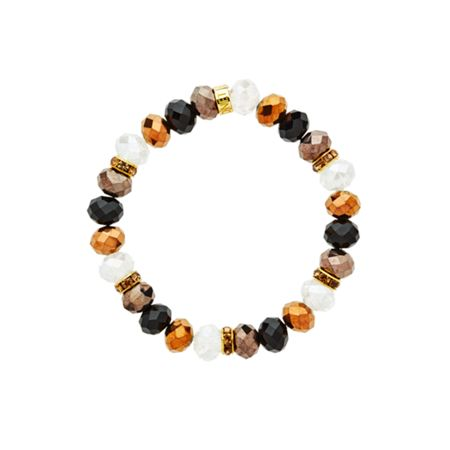 Monet Gold Crystal Bead Jet Bracelet