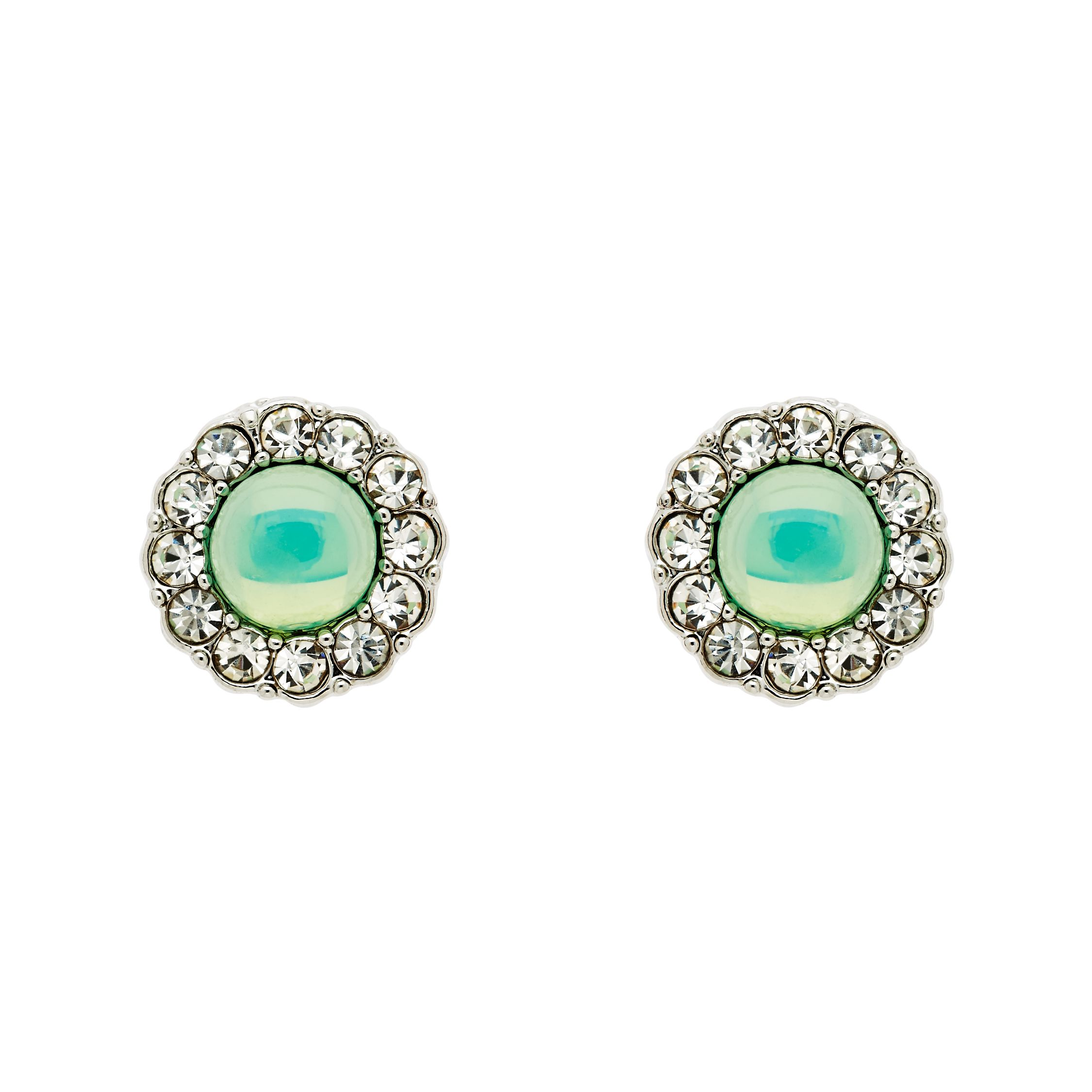 monet silver green opal crystal earrings