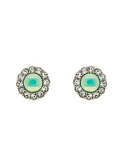 Silver Green Opal Crystal Earrings
