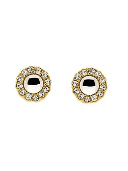 Gold Crystal Cabochon Earrings