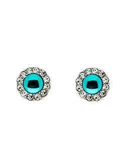Silver Blue Zircon Crystal Earrings