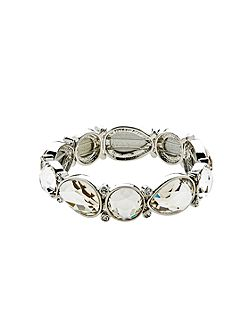 Silver Crystal Shapes Stretch Bracelet