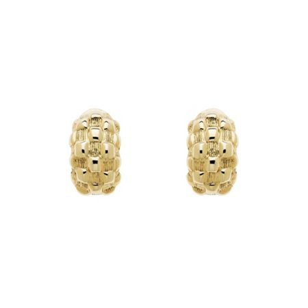 Monet Gold Chequer Half Hoop Clip Earrings