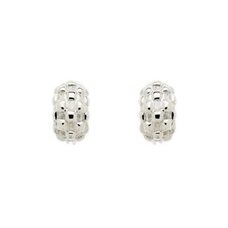 Monet Rhodium Chequer Half Hoop Clip Earrings