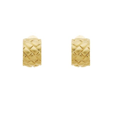 Monet Gold Satin Lattice Clip Earrings