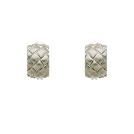 Monet Rhodium Satin Lattice Clip Earrings
