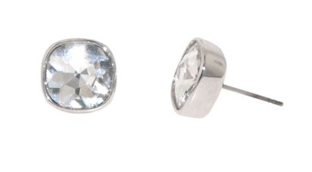 Lilli & Koe Rhodium Cushion Crystal Stud Earrings