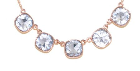 Lilli & Koe Rose Gold & Cushion Crystal Necklace