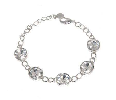 Lilli & Koe Rhodium Chain Cushion Crystal Bracelet