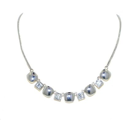 Lilli & Koe Rhodium Crystal & Cushion Stud Necklace