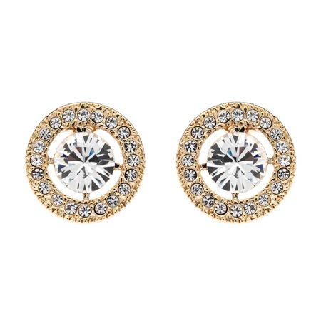 Lilli & Koe Gold Crystal Round Surround Earrings