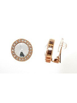 Rose Gold Rivoli Crystal Clip Earrings