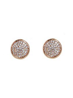 Rose Gold Pave CZ Stud Earrings