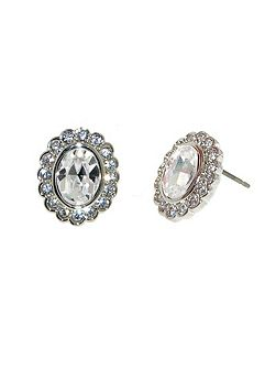 Rhodium Crystal Surround Oval Earrings