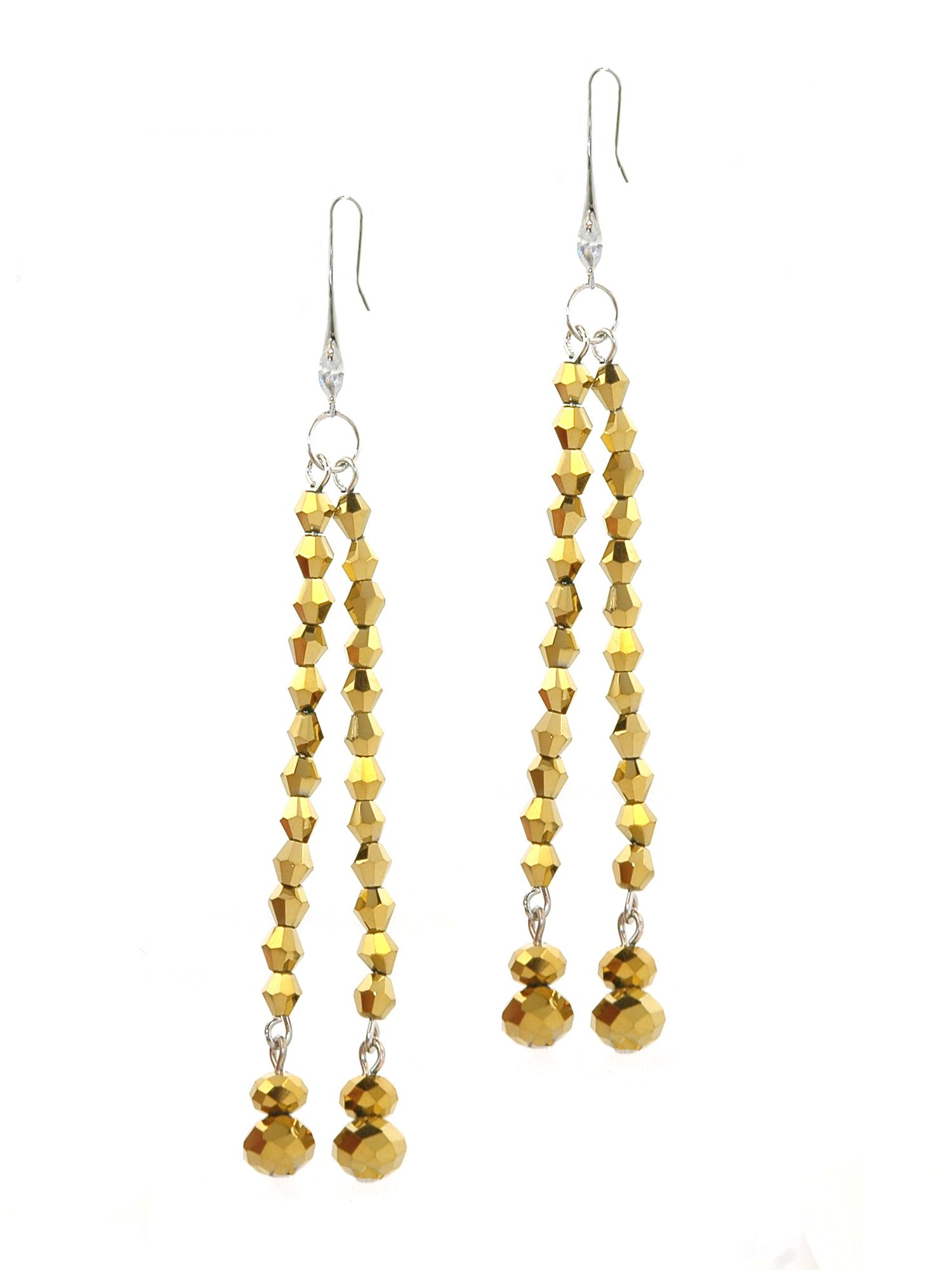 1928 Gold Dorado Crystal Earrings, N/A