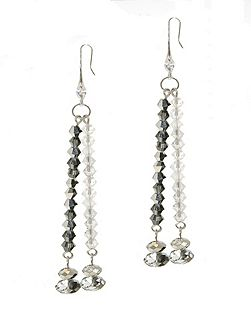 Hematite & AB Crystal Earrings