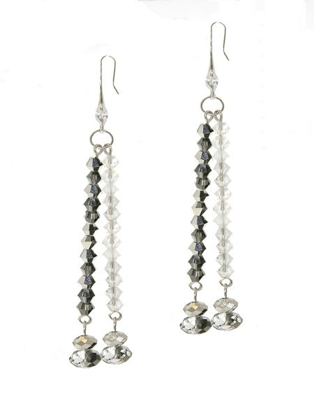 1928 Hematite & AB Crystal Earrings