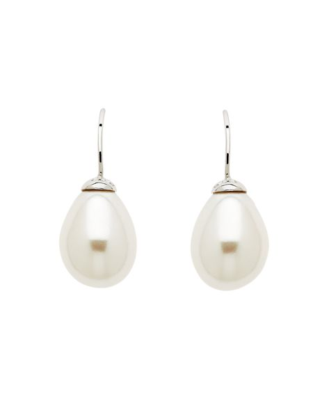 Lilli & Koe White teardrop pearl earrings