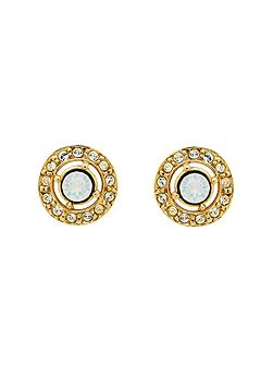 Gold White Opal Crystal Stud Earrings