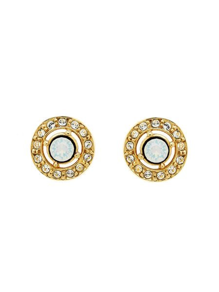 Melissa Odabash Gold White Opal Crystal Stud Earrings