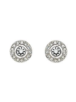 Rhodium White Crystal Stud Earrings