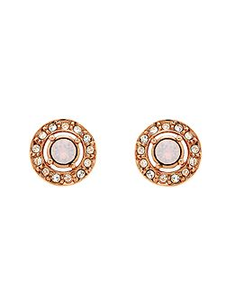 Rose Gold Opal Crystal Stud Earrings