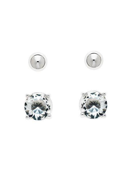 Melissa Odabash Rhodium Crystal & Ball Stud Earrings