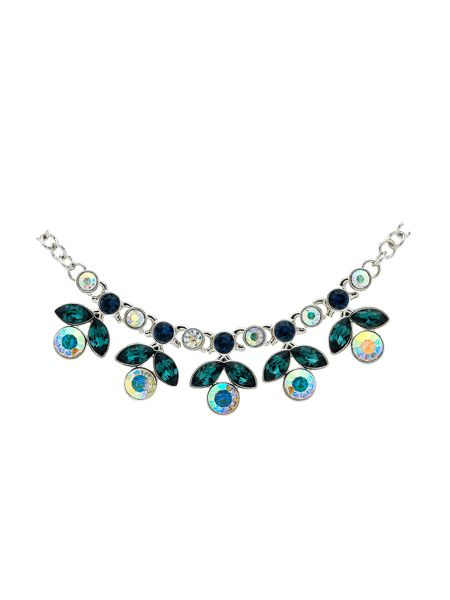 Monet Peacock Crystal Flower Necklace