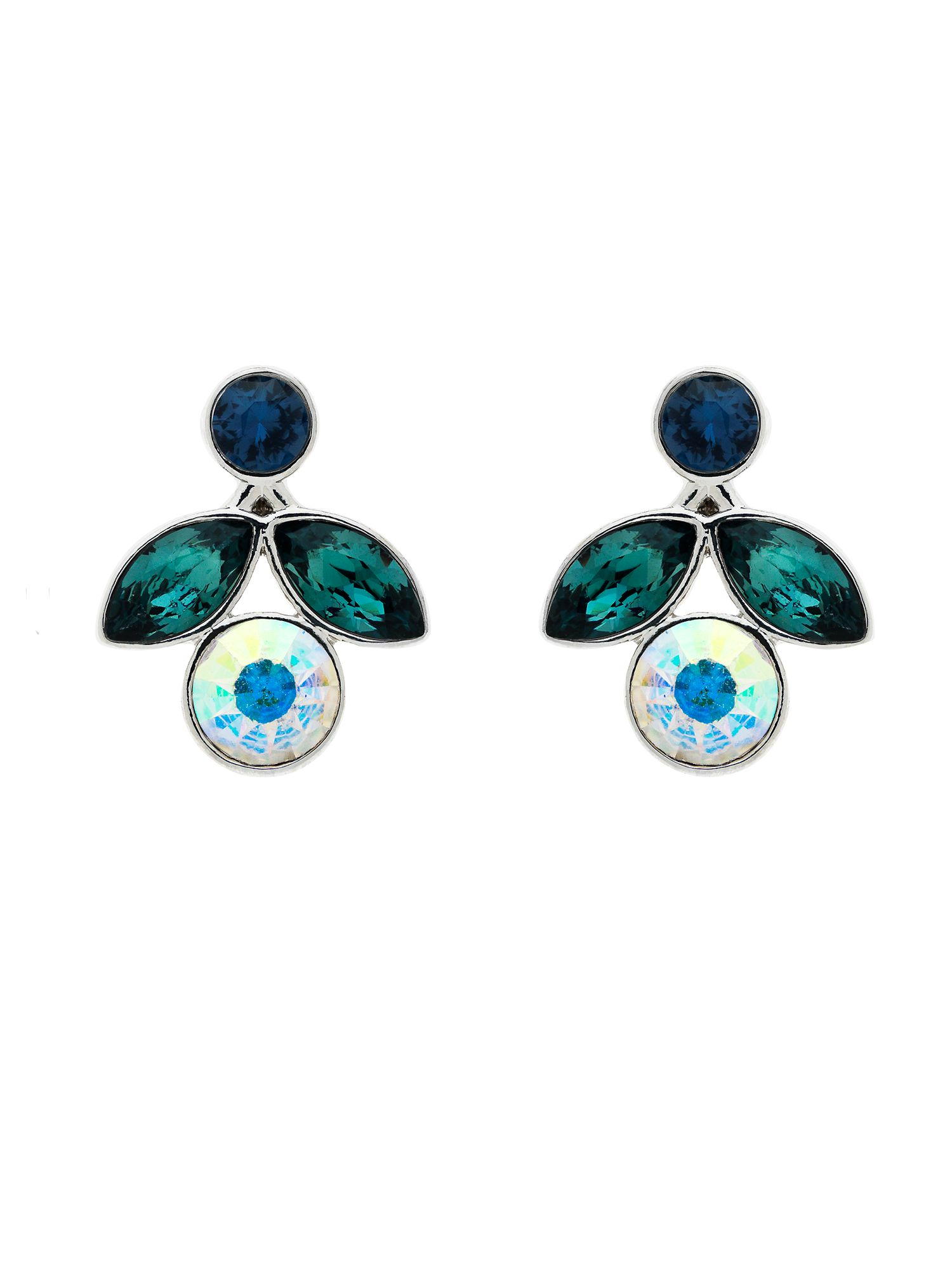 monet peacock small crystal flower earrings