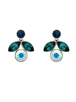 Peacock Small Crystal Flower Earrings