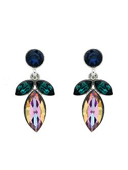 Peacock Navette Crystal Drop Earrings