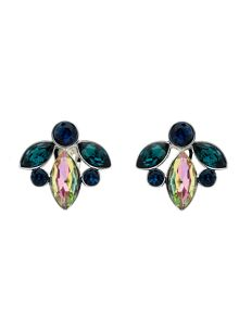 Monet Peacock Navette Crystal Clip Earrings