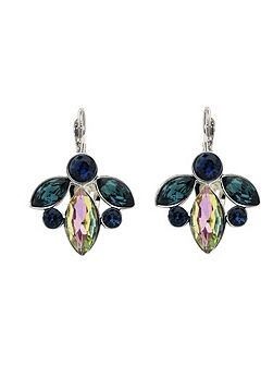 Peacock Crystal Leverback Earrings