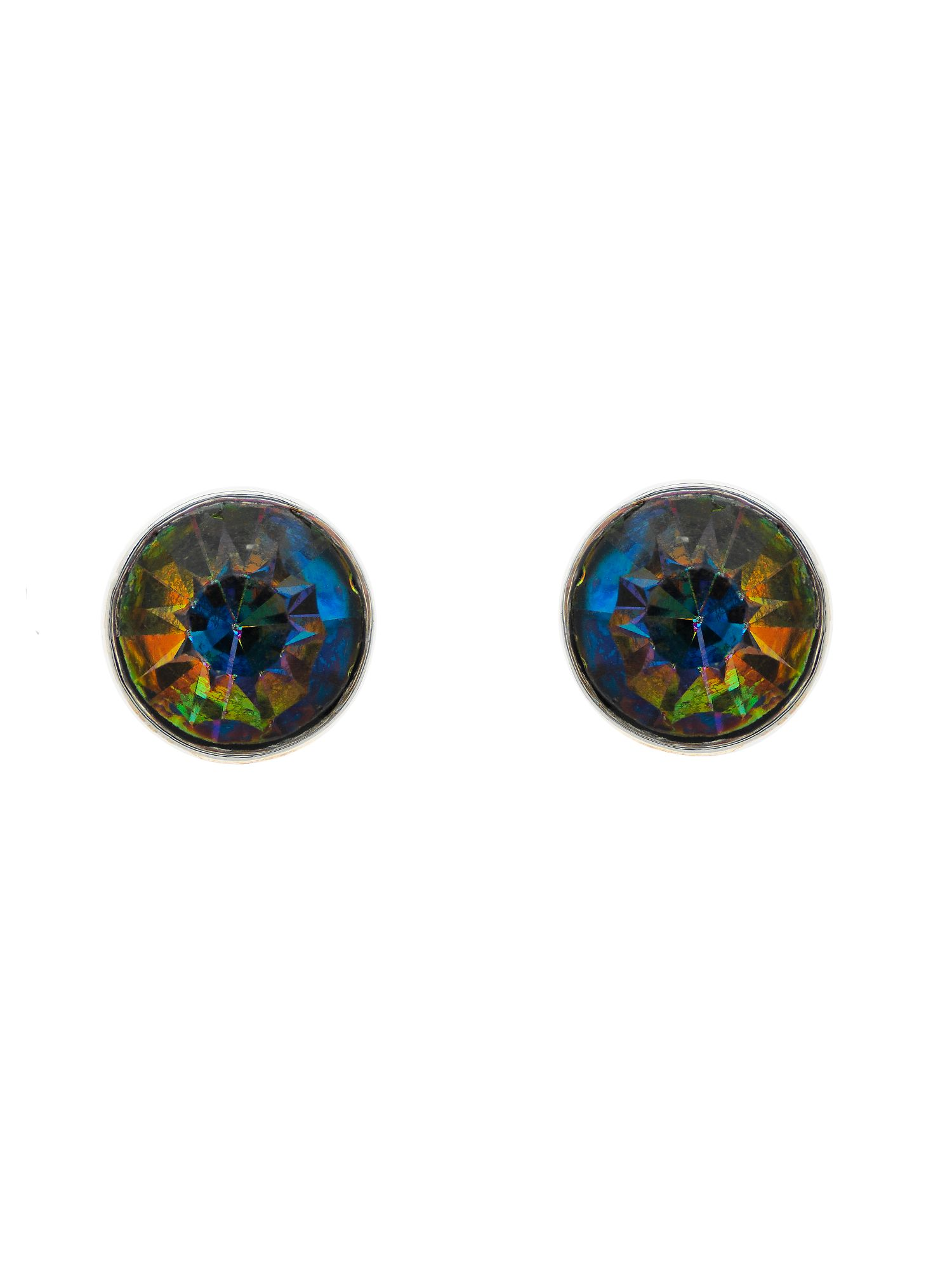 monet peacock crystal stud earrings
