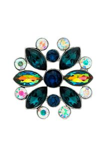 Monet Peacock Crystal Navette Brooch