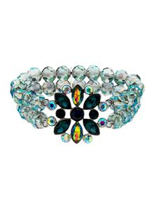 Monet Peacock Crystal Bead Stretch Bracelet