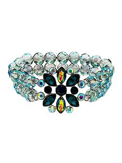 Peacock Crystal Bead Stretch Bracelet