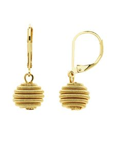 Monet Spirals gold ball leverback earrings