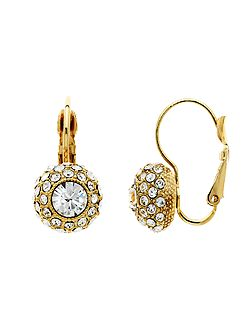 Gold pave crystal leverback earrings