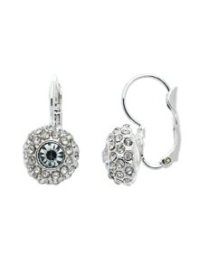 Monet Rhodium pave crystal leverback earrings