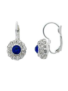 Monet Silver Sapphire Crystal Lever Earrings