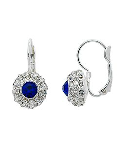 Silver Sapphire Crystal Lever Earrings