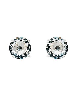 Rhodium White CZ Stud Earrings