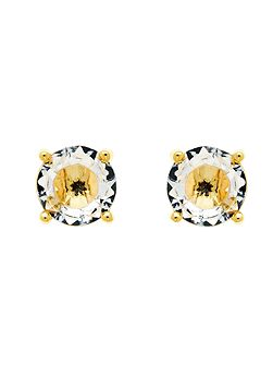 Gold White CZ Stud Earrings
