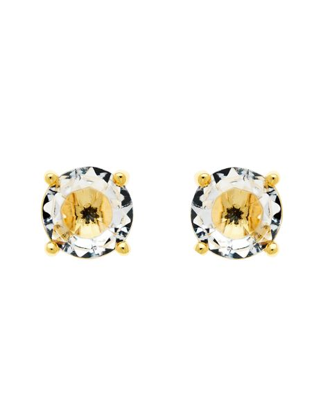 Monet Gold White CZ Stud Earrings