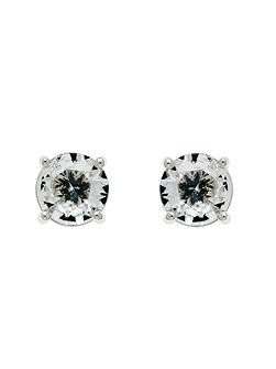 Rhodium White CZ Mini Stud Earrings